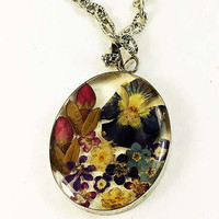MothersDaySale Dried Flowers in Oval Resin Pendant Multicolor Silver Frame Vintage - Pressed Flowers in Clear Resin Pendant