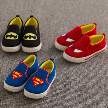 New 2015 Children Spiderman Batman Shoes Kids Cute Slip-On Sneakers Boys Girls Spring Summer Casual Sports Canvas Shoes, YJ007