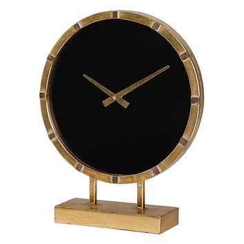 Uttermost Aldo Desk/Table Clock - Black Minimalist Dial - Distressed - Gold-Tone