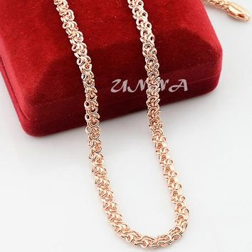 5mm 20inch 24inch Mens Womens Accessories Solid Rose Gold Color Filled Link Chain Necklace Jewelry Fashion NEW(All NO red box)