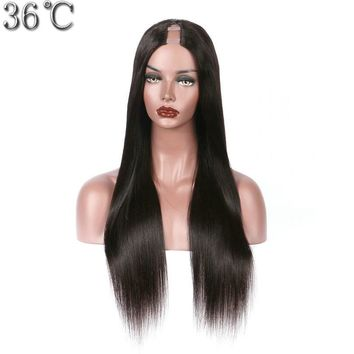 36C U Part Silky Straight 100% Peruvian Human Hair Wig