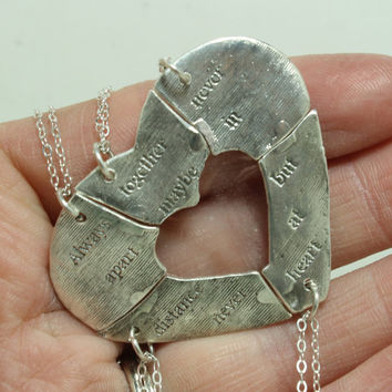5 Silver friendship pendants Heart puzzle Always together quote Set of 5 Silver PMC3
