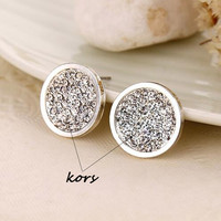Gold New 2016 Famous Brand Round Crystal Stud Earrings For Women Girls Bricos Bijoux Letter Kors Big Earrings 1.7 cm Fashion Jewelry