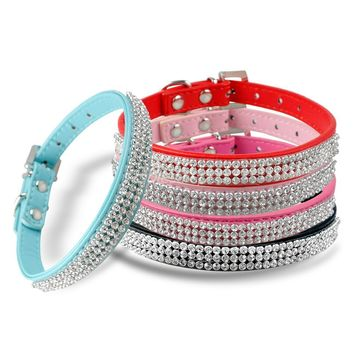 Rhinestone Dog Cat Collar Pu Leather Diamante Small Pet Puppy Necklace Black Pink Blue for Chihuahua