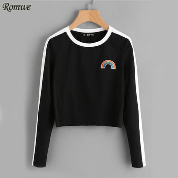 ROMWE Rainbow Patch Cute T-shirt Contrast Panel Crop Top 2017 Women Casual Color Block Tops Autumn New Long Sleeve Brief T-shirt