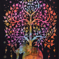 Multi Tree Of Life Tapestry, Indian Elephant Tapestry, Color Tree- Elephant Tapestry, Indian Tapestry, Twin Age Dorm Bedding, Picnic Blanket
