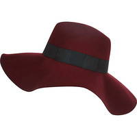River Island Womens Dark red oversized fedora hat