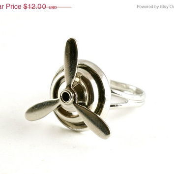 VALENTINES SALE Silver Spinning Propeller Ring, Aviation Jewelry, Helicopter Ring, Travel Jewelry