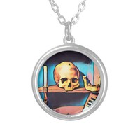 Skull Candlestick Still Life Abstract original Art Silver Plated Necklace