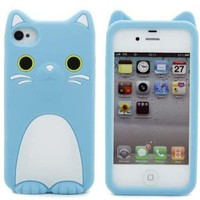 Morton Iphone 4GS 4G Funny CoCo Cat Silicone Cover Kitty Case--girl blue