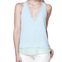 Cooper and Ella Harper Double V Mint Tank Top