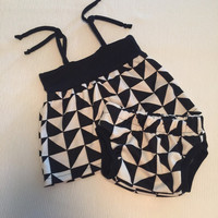 Made to order baby girl dress bloomers set-black and white summer dress