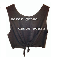 Harry Styles Tattoo- Never Gonna Dance Again Cropped Tie-Front Tank