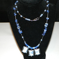 Blue & White Textured Necklace