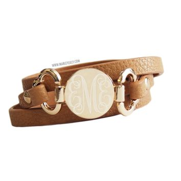 Monogrammed Camel Leather Wrap Bracelet | Accessories | Marley Lilly