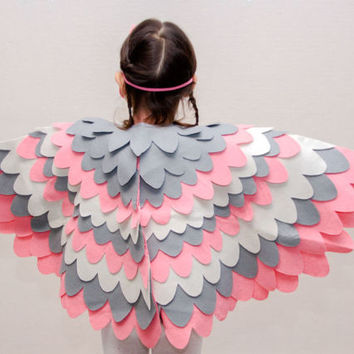 Kids Bird Wing Costume, Kids Pink Bird Wing Cape, Toddlers Costume, Soft Toy, Dress up Costume, Halloween Costume, Gift for Girls Made in UK