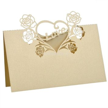 50 Laser Cut Love Birds Name Place Cards Wedding Guest (3 colors) - 3.5 x 3.5 inches