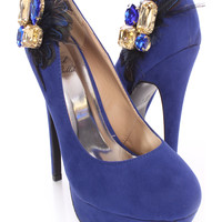 Royal Blue Gemstone Feather Pump Heels Faux Suede