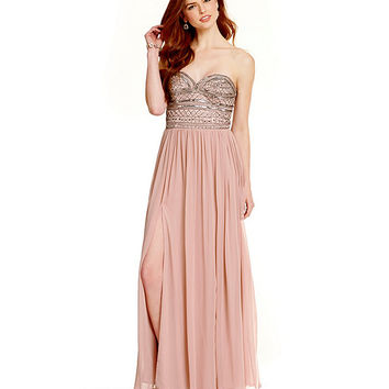 Aidan Aidan Mattox Embellished Strapless Dress | Dillards