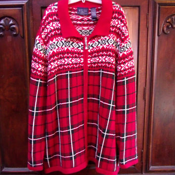 Vintage Crazy Horse by Liz Claiborne, Red Plaid Knit Zip Cardigan Sweater Size 2x