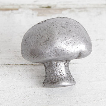 Pewter Mushroom Knobs, Kitchen Food Theme Knobs, Decorative Knobs for Unique Cabinet Knobs