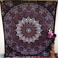 Psychedelic Star Mandala Tapestry Wall Hanging Hippie Bedding Throw Bedspread Bohemian Boho Ethnic Decor Art