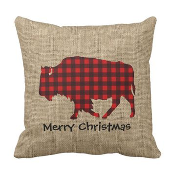 Burlap & Lumberjack Plaid Buffalo Throw Pillow