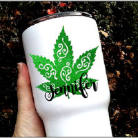 Marijuana leaf decal, Pot leaf sticker, 420, weed decal, cannabis leaf decal, boho gift, festival sticker, cup decal