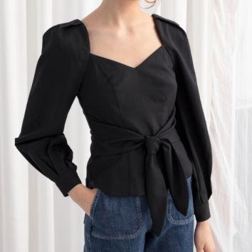 Early autumn women's French retro square collar knotted long-sleeved shirt women