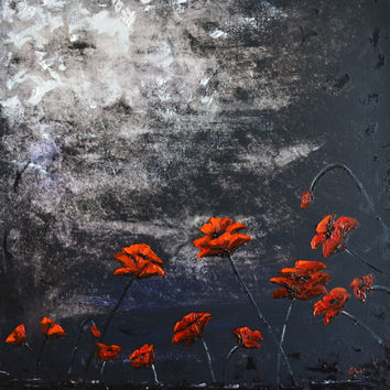 Red Poppies in the Moonlight Original Painting