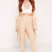 Missguided - Notch Ankle Detail Cigarette Pants Nude