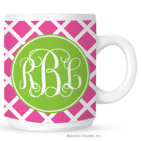 Lattice Monogrammed Coffee Mug by Lipstick Shades