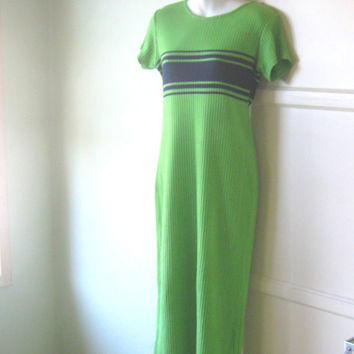 Vintage 1980s Sweater Dress in Lime Green with Navy Racing Stripe - Green Maxi Sweater Dress; Medium-Large