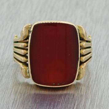 1880s Antique Victorian Estate 14k Yellow Gold 15x12mm Carnelian Cocktail Ring