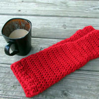 Long Arm Warmers, Classy Red Fingerless Gloves, Slouchy Texting Gloves, Fall Accessories, Women's Winter Gloves