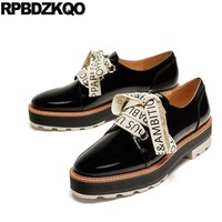Flats Lace Up Slip Resistant Platform Women Ladies Beautiful Shoes Creepers Muffin Oxfords Black Thick Sole Spring Autumn Patent