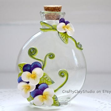 Decorated Bottle - Embellished Bottle - Flower Decor - Polymer Clay Flowers - Flower Vase - OOAK Bottle Vase - Fantasy Decor - Cottage Chic