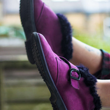 Purple Suede Buckle Vintage Boots