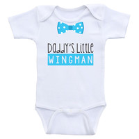 "Baby Boy One-Piece Shirts ""Daddy's Little Wingman"" Baby Boy Onesuits"