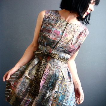 Pleasant Moments - iheartfink Handmade Hand Printed Womens OOAK Reversible Sleeveless Wearable Studio Gallery Art Piece Artist Dress