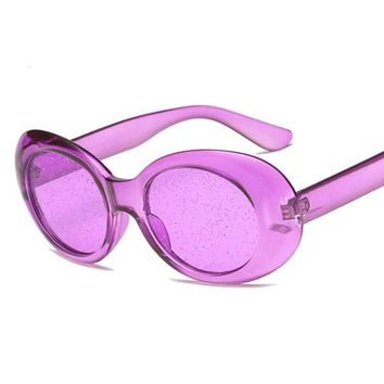 Womens Trending Clear Transparent Glitter Candy Color Retro 90s Style Oval Sunglasses UV400