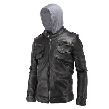 Size L-4XL Men's Fashion Clothing Black PU Faux Leather Jackets Male Pockets Zippers Casual Casaco Motorcycle Coats With Hooded