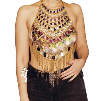 Bejeweled Crystal Body Chain and Tassel Top
