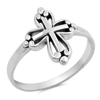 Sterling Silver Women's Ring Cross 16MM