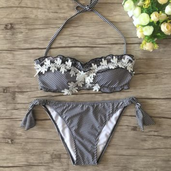 Striped Lace Flower Halter Padding Bikini Set Swimsuit Bathing Suit