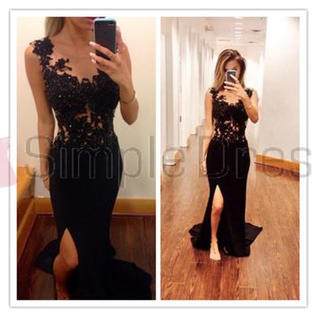 Buy Simple Dress Black Prom Dresses, Mermaid Slit Chiffon Long Prom Dresses, Graduation Dress, Evening Dresses CHPD-7109 Special Occasion Dresses under $159.99 only in SimpleDress.