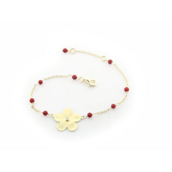 Hammered Gold Plated Sterling Silver Flower of Life & Coral Beads Chain Bracelet for Girls, 6""