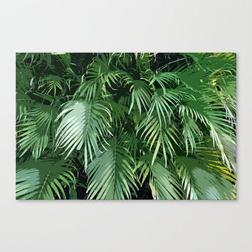 Jungle Palms - Gallery Wrap Canvas, Tropical Beach Green Palm Tree Fronds Wall Art Hanging. Available in 8x10 / 11x14 / 16x20 / 20x30 Inches