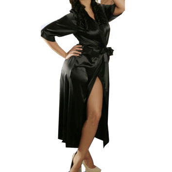 Long Black Sexy SILK Kimono Dressing Gown Bath Robe Babydoll  Nightdress
