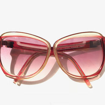 BALENCIAGA!!! Vintage 1970s 'Balenciaga' ruby red and crystal framed sunglasses with non prescription lenses and logo plates/ Made in France